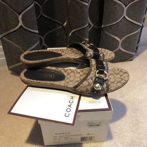 Coach Fabric & Leather Slides Size 6.5